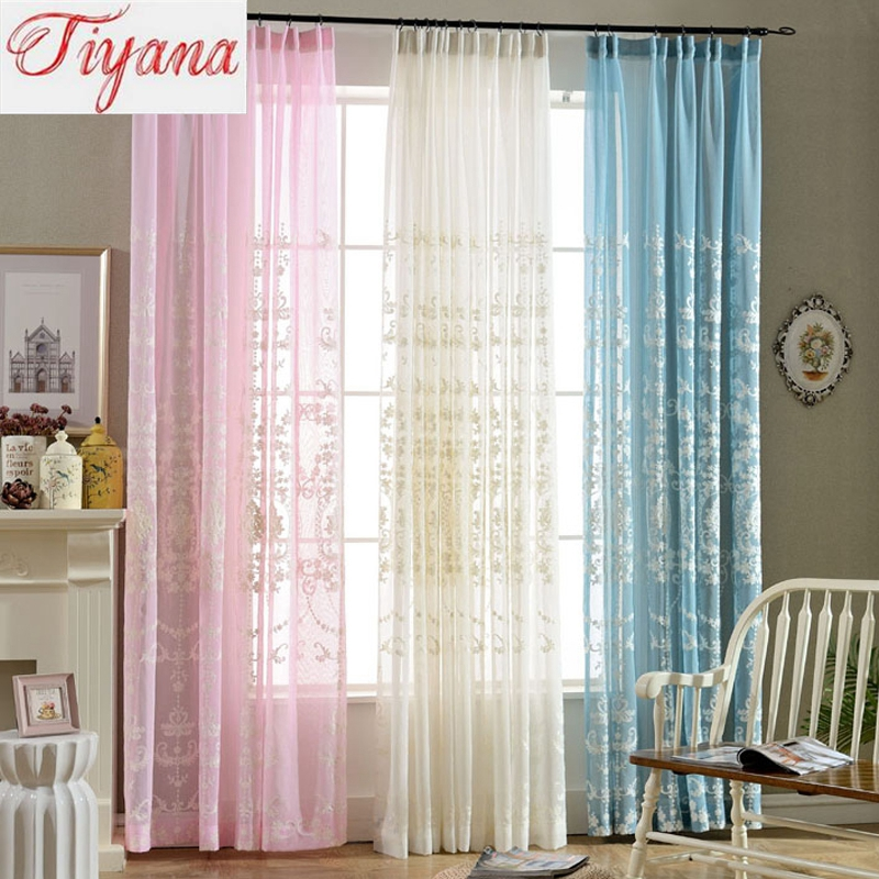 French Style Window Treatments Part - 25: European White Pink And Blue Embroidered Window Treatment Curtain For  Balcony Living Room Luxurious Kitchen Sheer