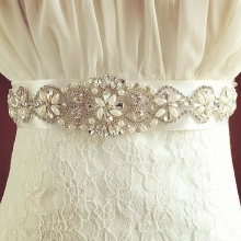 Rhinestone  Sash Bridal Belt Ivory or White Satin Flower Girl Wedding