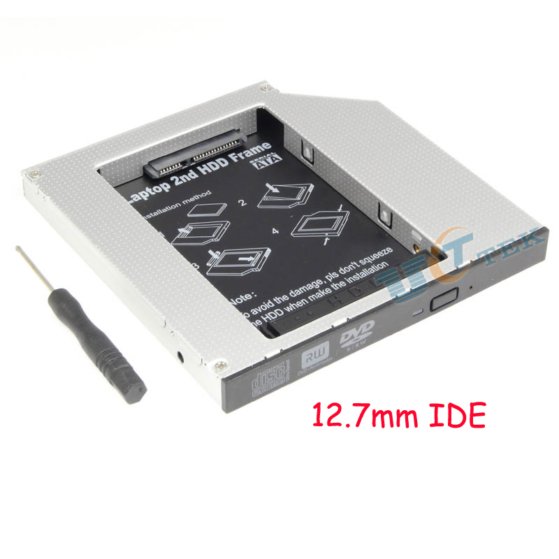 Free Shipping Universal Internal Laptop 12.7mm PATA IDE To SATA 2nd HDD Hard Disk Drive Caddy  2.5
