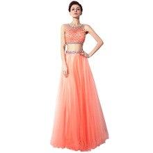 Vestidos de festa zweiteiler prom dress sexy tüll langen abendkleid 2017 mit perlen