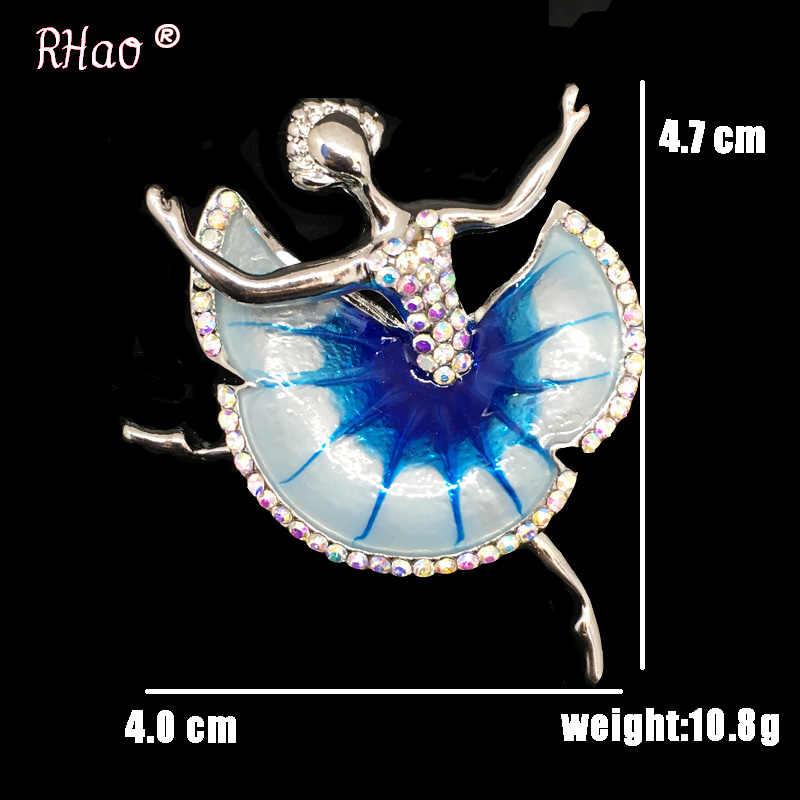 Blu Ballerina Spille Per Le Donne Bigiotteria Moda Femminile Collo Con Revers Ballerino di danza classica di Cristallo Blu Dello Smalto Pin Spilla