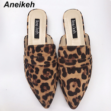 Aneikeh NEW Summer Flats Mules Lady Sandals Slippers Leopard Print Slip On Pointed Toe Women Mules Outdoor Slipper Shoes Slides