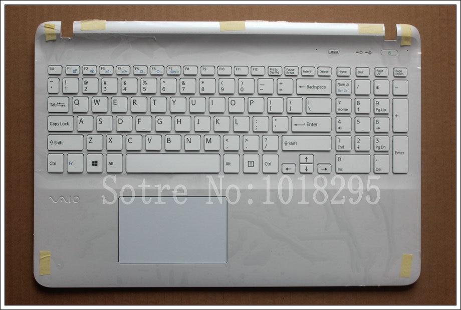 US keyboard laptop for sony Vaio SVF15NE2E SVF152A29M SVF15A1M2ES SVF152a29u white keyboard with frame Palmrest Touchpad Cover