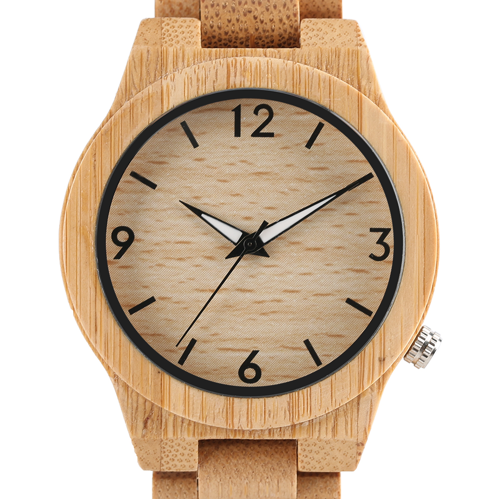 High Quality Natural Bamboo Wood Watch Creative Luminous Pointer Men's Elegant Bracelet Quartz Wristwatch Male Relogio Masculino unique handmade natural bamboo wood watch analog mens simple quartz wristwatch male genuine leather relogio masculino esportivo