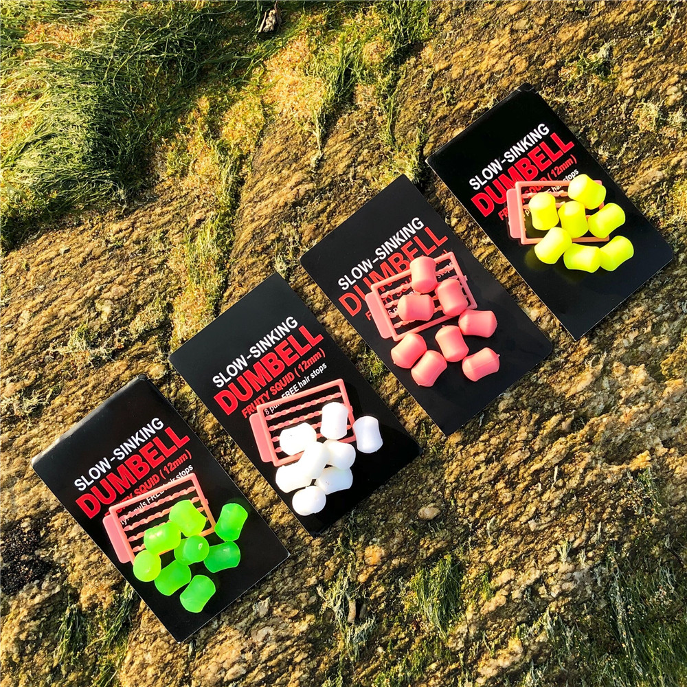 8pcs/pack 12 Mm Slow Sinking FRUITY SQUID FLAVOUR Fake Food Plastic Baits Dumbells Bait For Carp Fishing Artificial Bait