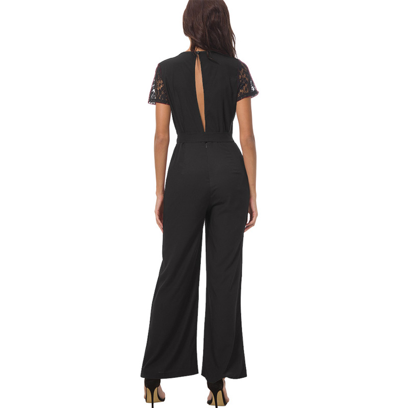 4b89d6919 Aliexpress.com : Buy BONGOR LUSS Lace Short Sleeve Backless Sexy Rompers  Womens Jumpsuit Casual Long Pants Women Summer Jumpsuit Romper With Sashes  from ...
