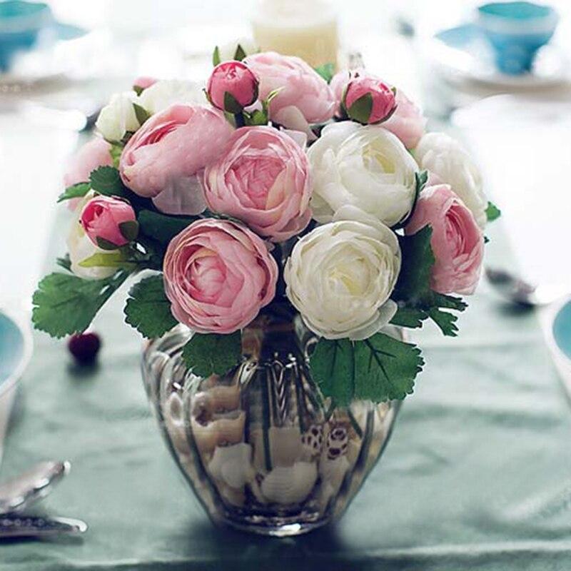 10 pz Mani In Possesso di Fiori Di Seta Artificiali Fiori di Seta Camelia Da Sposa Damigella D'onore Bouquet Lattice Real Touch Wedding Party Decor