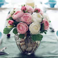Elegant 10 Heads Artificial Rose Camellia Hands Holding Wedding Flowers Bridal Bouquets For Party Decoration