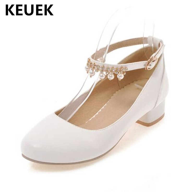 New Spring/Autumn Girls High-heeled Shoes Princess Fashion High heels Student pearl Rhinestone Baby Kids Leather Shoes Child 041New Spring/Autumn Girls High-heeled Shoes Princess Fashion High heels Student pearl Rhinestone Baby Kids Leather Shoes Child 041