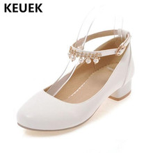 New Spring/Autumn Girls High-heeled Shoes Princess Fashion High heels Student pearl Rhinestone Baby Kids Leather Child 041