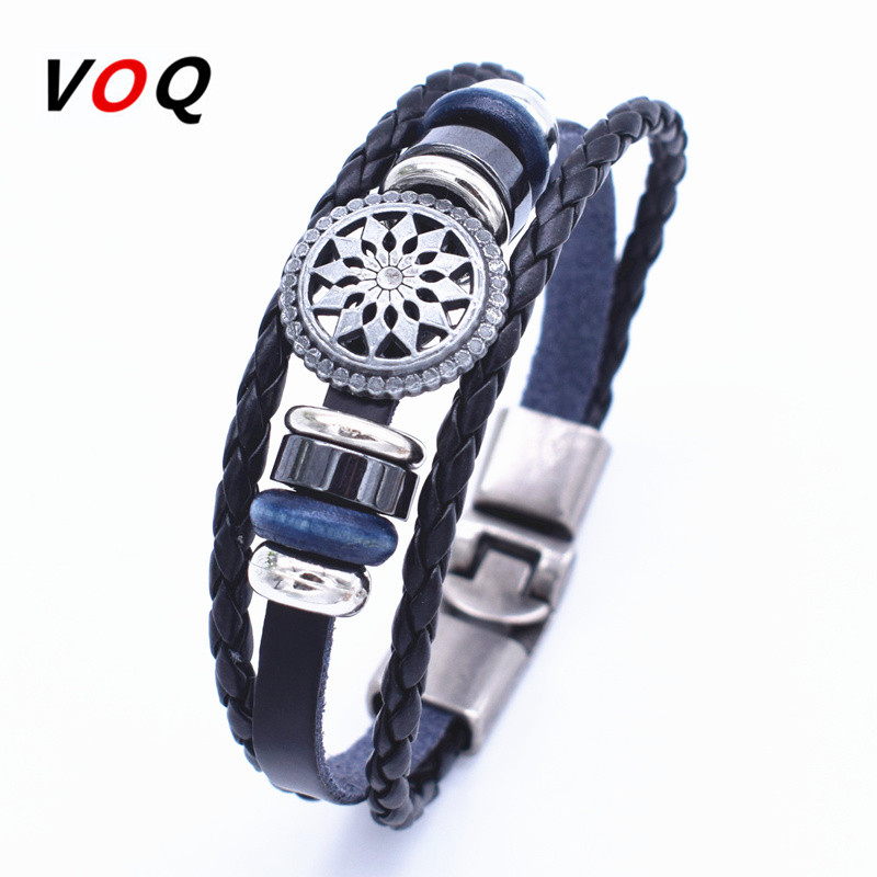 2016 New Design Alloy Beads Accessories Genuine Leather Bracelet Men Jewelry Wristband For Women Gifts image
