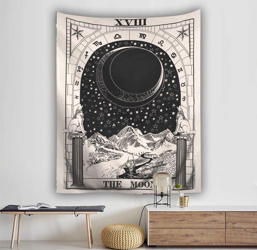 Tenture murale Tarot tapisserie la lune l'étoile tapisserie Polyester tissu tapisseries couverture couvre-lit serviettes de plage tapis de pique-nique