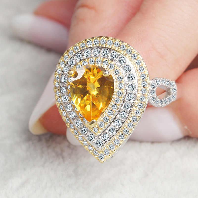 Водная капелька 14 К Золотое бриллиантовое обручальное кольцо палец драгоценный камень Перидот Bizuteria Anillos De Jewelry Bague или Jaune кольца для женщин
