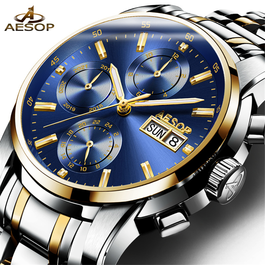 New Arrival AESOP Mechanical Watches Calendar Luxury Sapphire Crystal Automatic Watch Men Full Steel Relogio Masculino 2018
