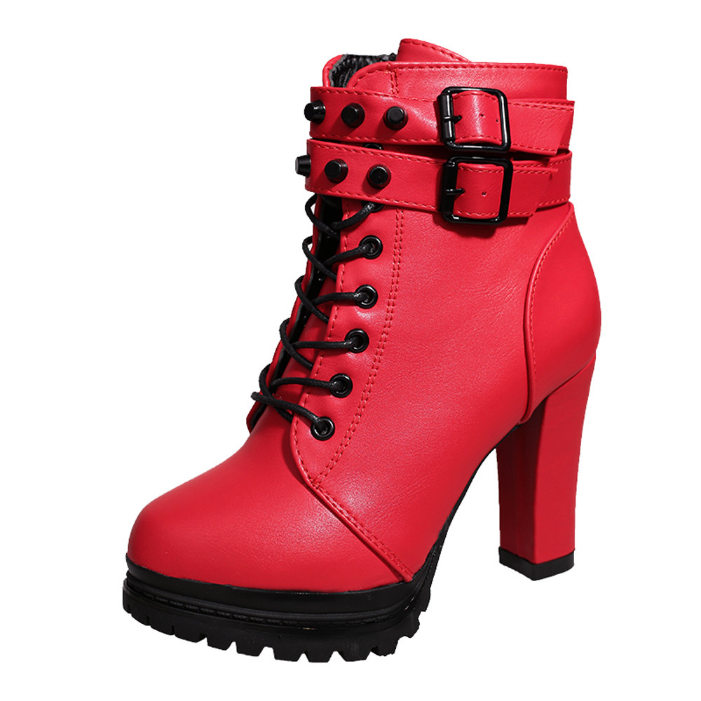 YOUYEDIAN Women Boots 2018 Ankle Boots For Women Lace Up Square Heel Winter Shoes Casual Super High Heel Boots Botas Mujer 8