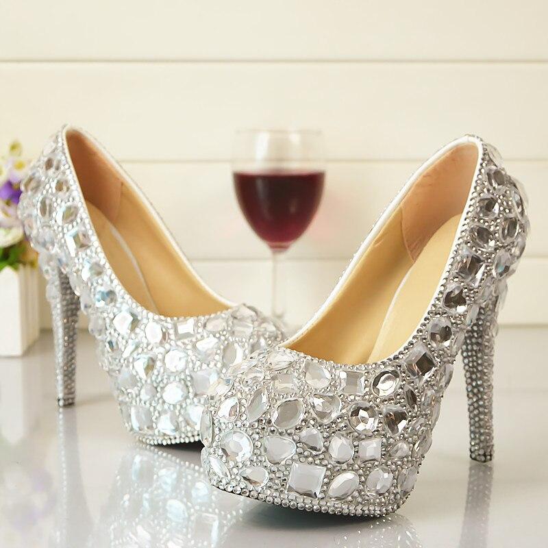 14cm super high heels silver crystal rhinestones bridal wedding shoes bride platforms slip on ladies female bling party shoe