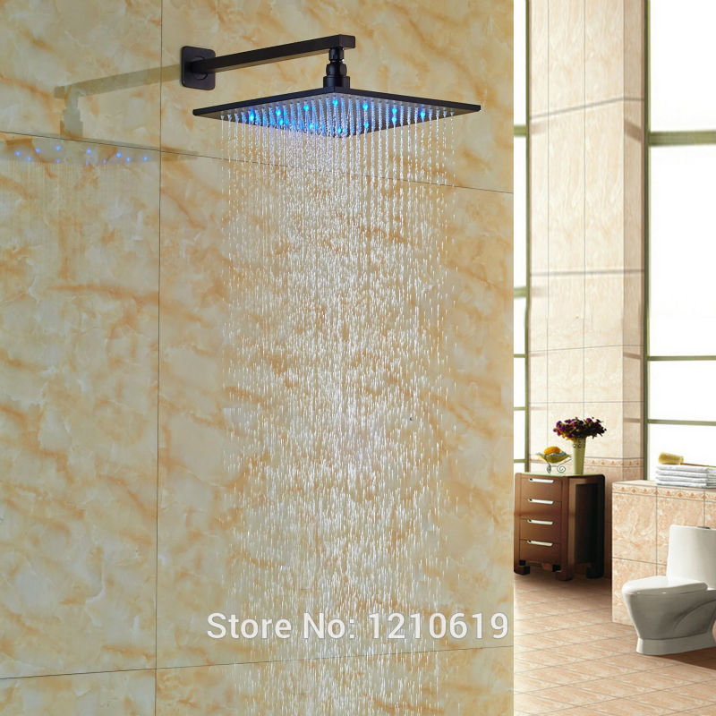 Uythner Newly Oil Rubbed Bronze Top Shower Spray Head 12 LED Color Changing Shower Head w/ Arm Wall Mounted эра стабилизатор sta 1000