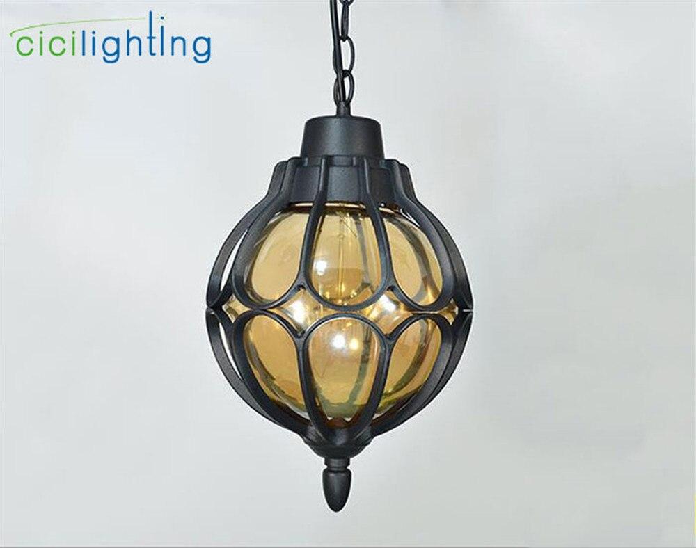 1 шт., европейский стиль, уличный светильник, винтажный подвесной светильник, наружный водонепроницаемый подвесной светильник, наружный ландшафтный светильник ing - Испускаемый цвет: black