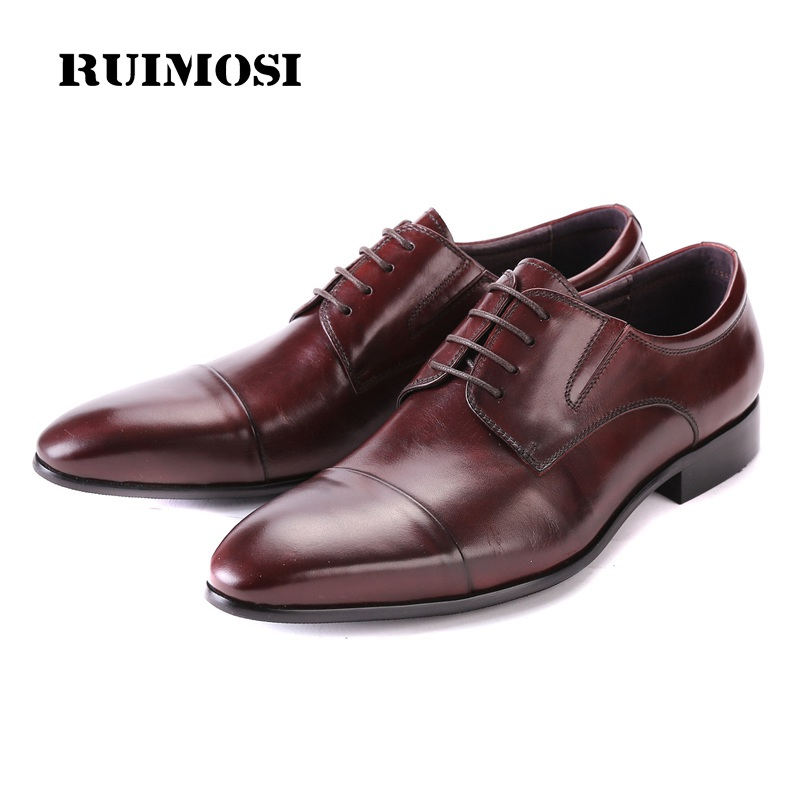 RUIMOSI Hot Formal Man Cap Top Dress Shoes Genuine Leather Designer Oxfords Luxury Brand Men's Wedding Footwear For Male FG32