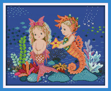 The little mermaid and sea horse cross stitch kit 18ct 14ct 11ct count print canvas stitches embroidery DIY handmade needlework(China)