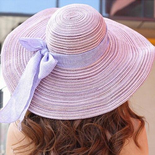 Мода Летние Шляпы для Женщин На Открытом Воздухе Большой Пляж Соломенная Шляпка С Бабочкой 2015 Новые Случайные женщины Солнце Caps