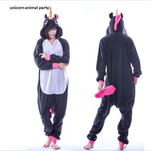 Kigurumi Adult Animal Sleepsuit Pajamas Costume Cosplay Unicorn Onesie black Pyjamas Jumpsuits Rompers Halloween Christmas Party