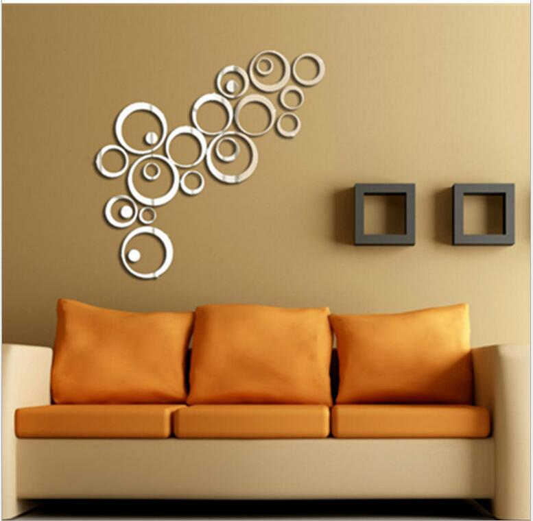 Acrylic wall sticker luxury 3d circles mirror wall sticker Cool wall signs