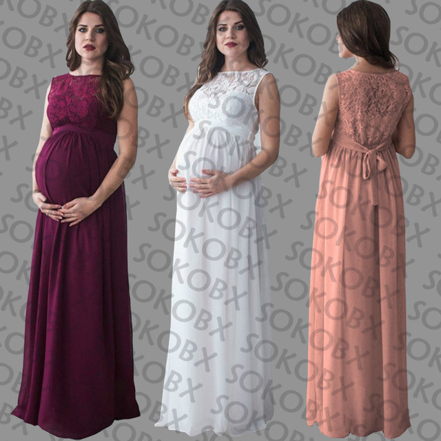 d663e665ed5 SOKOBX Maternity Dress Pregnancy Clothes Pregnant Women Lady Elegant Gown  Vestidos Sexy Lace O-neck Party Formal Evening Dress