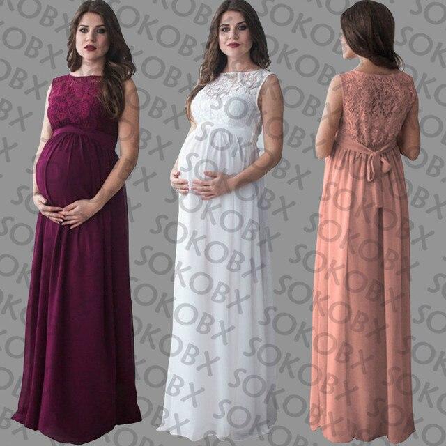 SOKOBX Vestito Di Maternità Abbigliamento Gravidanza Le Donne Incinte Signora  Elegante Abito Abiti Sexy Del Merletto 974d9c5f1d8