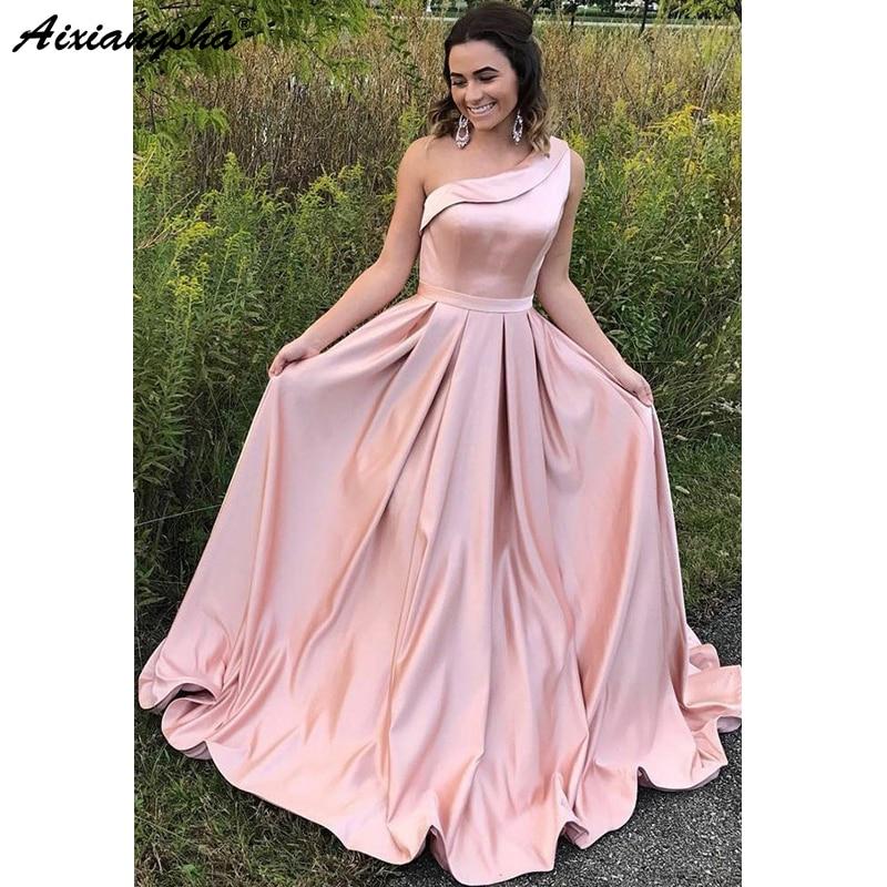 Pink 2018   Prom     Dresses   A-Line One Shoulder Satin Ruffles Long Evening   Dress   Simple   Prom   Gown Cheap vestidos de fiesta