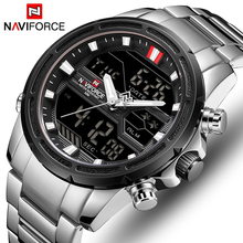 NAVIFORCE Men Dual Display Watch Mens Luxury Analog Digital Quartz Watches Fashion Stainless Steel Sport Waterproof Wristwatch