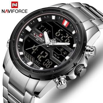 NAVIFORCE 9138S Men Dual Display Watch Mens Luxury Analog Digital Quartz with box