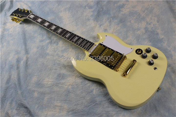 SG 400 Custom electric sg guitar. cream yellow color,AAA mahogany body,3pickups ebony fingerboard ,gold hardware high quality custom shop lp jazz hollow body electric guitar vibrato system rosewood fingerboard mahogany body guitar