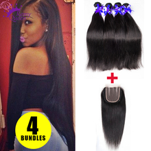 Straight Indian Virgin Hair With Closure 4 Bundles Indian Hair Weave With Lace Closure 7A Grade