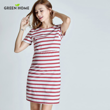 Green Home striped maternity nursing dress with high quality fabric pregnancy dress for pregnant women