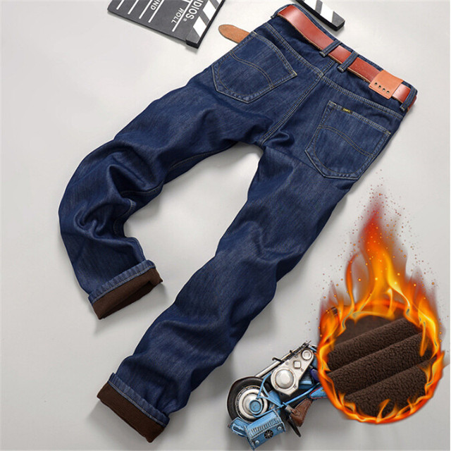 Mens Winter Autumn Straight Thicken Jeans with Warm Fleece ,High Quality Denim Jeans Homme Plus Size Pants Trousers For Men