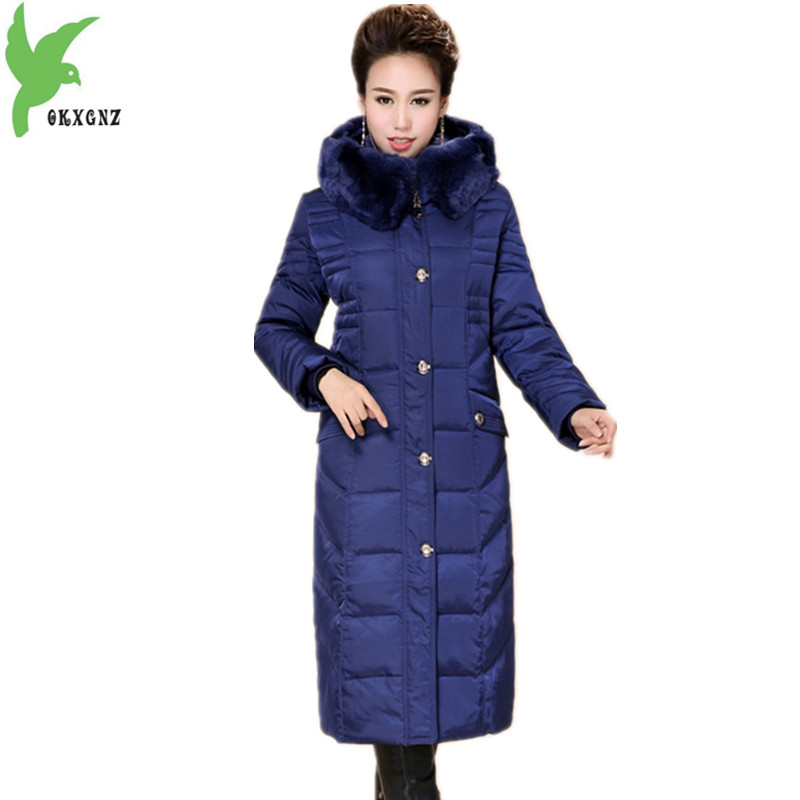 Boutique Middle-aged Women Winter Jacket Coat Down cotton Parkas Hooded Rabbit hair collar Jacket Plus size Long Coat OKXGNZ1130 down the rabbit hole