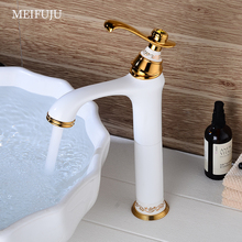 Golden Brass Basin Faucet Chrome Black Faucets White Sink Mixer Tap Vanity Faucet Hot Cold Water Bathroom Faucet Deck Mounted kitchen faucet sus 304 stainless steel deck mounted faucets black paint spool mixer water faucet hot and cold double control tap