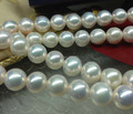 wholesale 8.5-9mm round cream white natural cultured freshwater pearl string 40cm