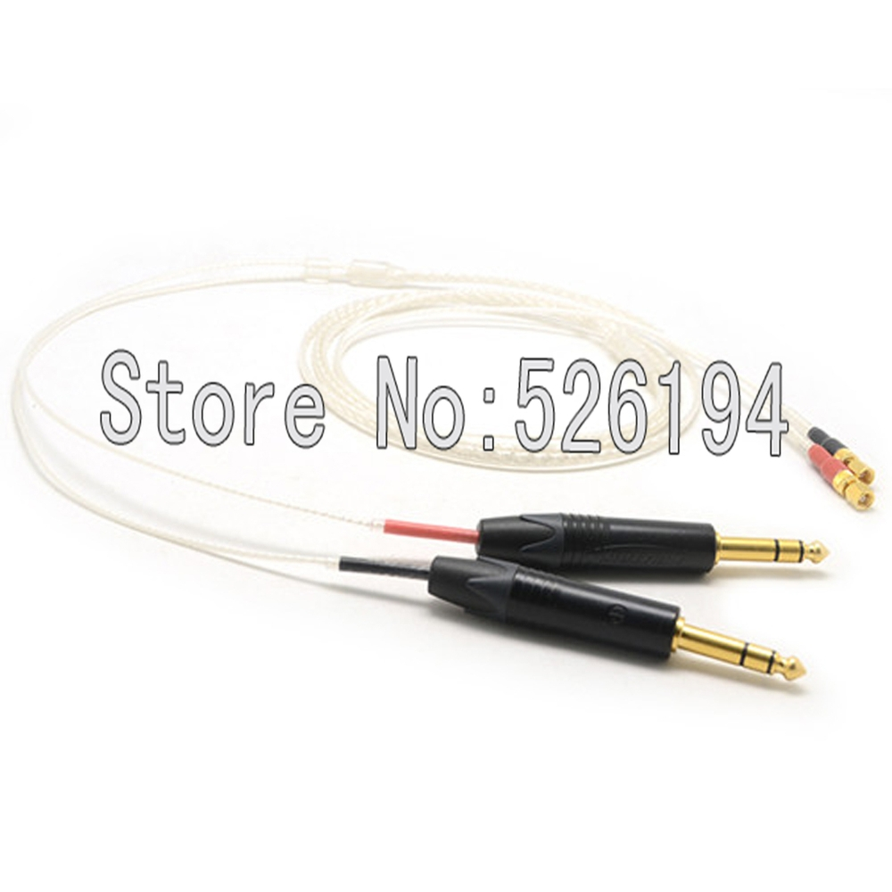 купить Free shipping 6.5mm Silver Plated 5N OFC Cable For HiFiMan HE400 HE5 HE6 HE300 HE560 HE4 HE500 HE600 Headphone cable недорого