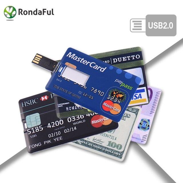 Credit card 16GB 32GB USB Flash Drive 16gb Pen drive 64GB pendrive 4GB 8GB memory stick
