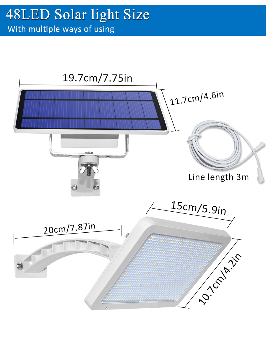 800lm Solar Outdoor Light for with 48 LED With Adjustable Lighting Angle for Garden and Yard Security 7