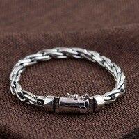 925 sterling silver bracelet hand woven fashion personality men bracelet