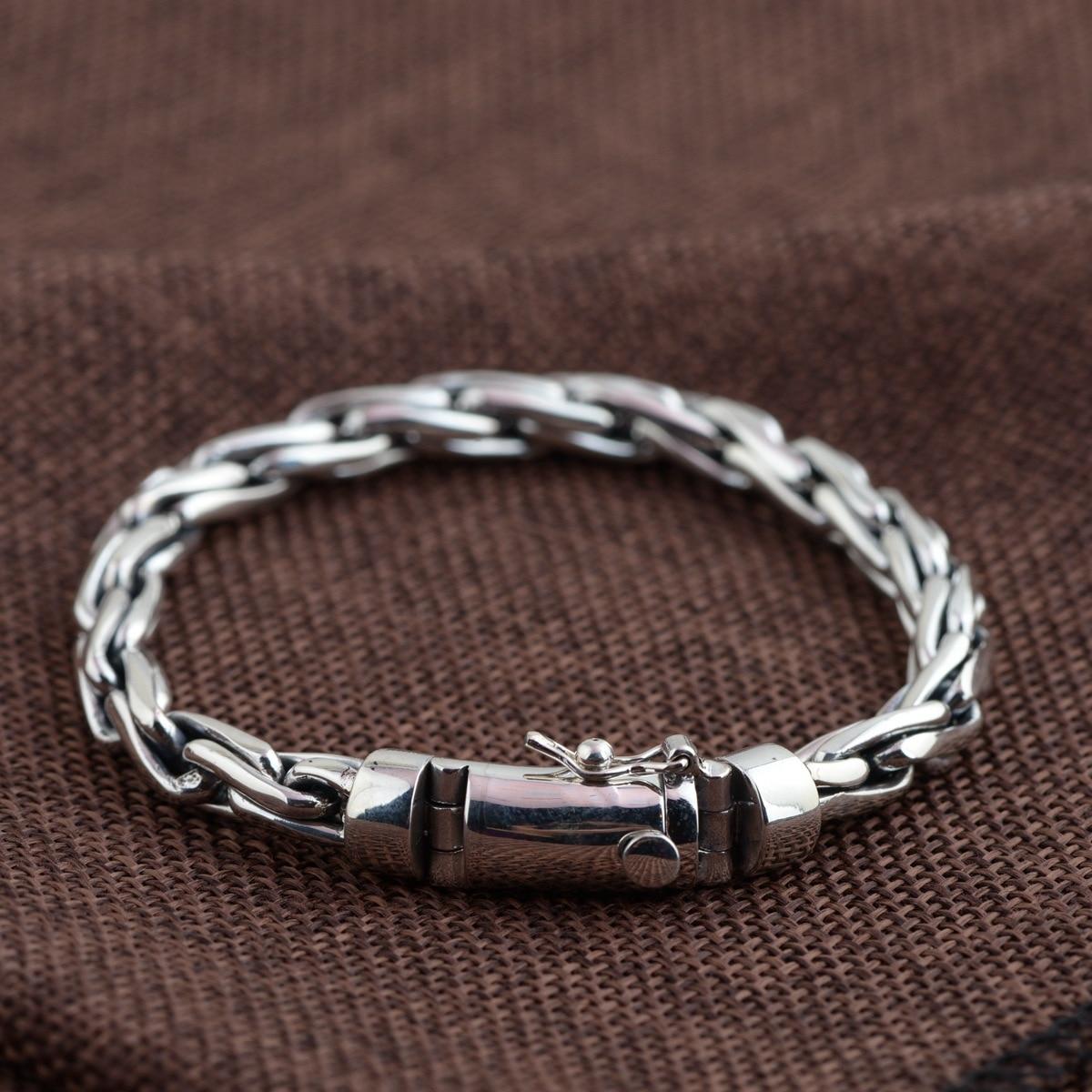 925 sterling argent bracelet tissé à la main personnalité de la mode hommes bracelet