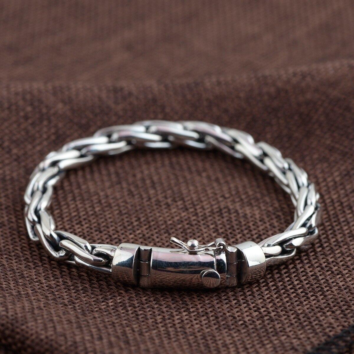 925 sterling silver bracelet hand-woven fashion personality men bracelet wooden breads hand woven wrap bracelet