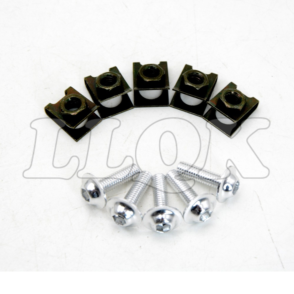 5pcs 6mm CNC Motorcycle Fairing body work Bolts Screws for aprilia ducati honda hyosung triumph ktm suzuki yamaha kawasaki