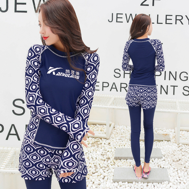 65ed3c1e9ad5a 2017 Women Rash Guards Swimming Suit Full Body Covered Surfing Suit Long  Sleeves Long Pants Two Piece Surf Swimwear Windsurfing