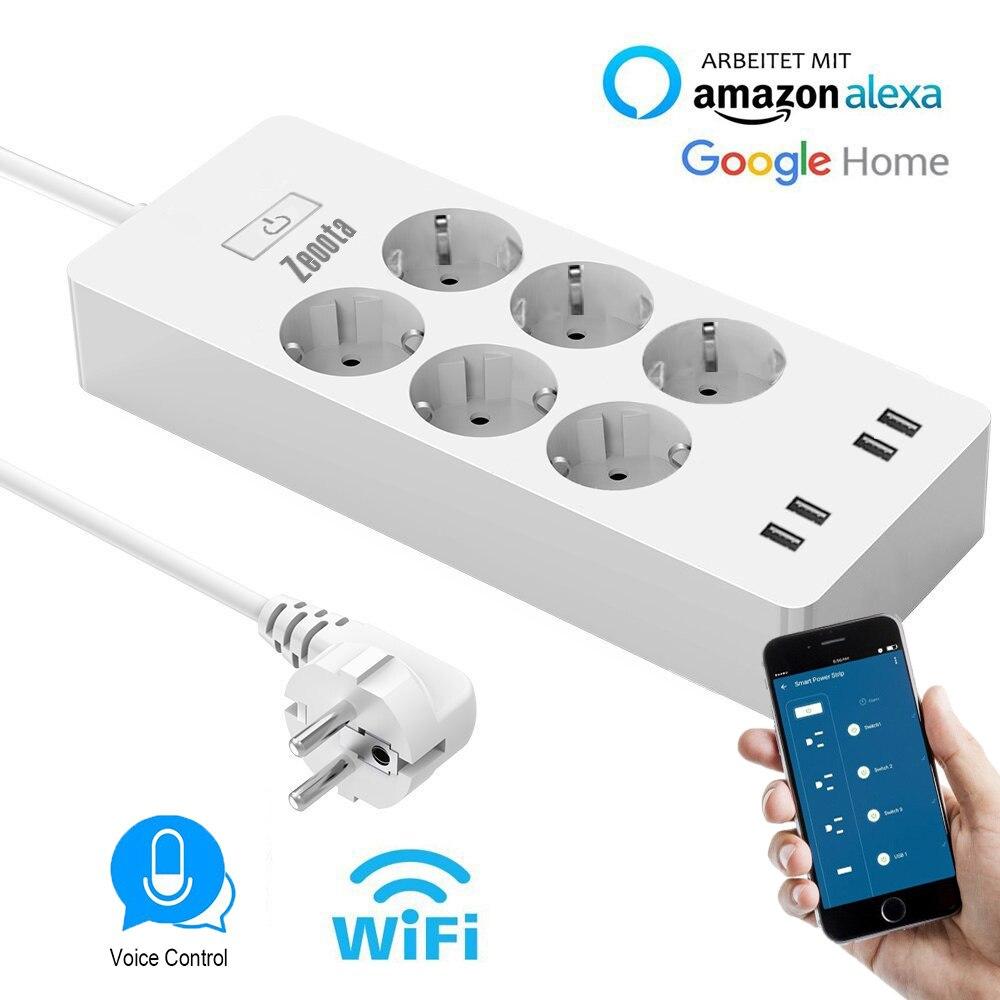 WiFi Smart Мощность полосы ЕС Стабилизатор напряжения с 6 разъем 4 USB Порты и разъёмы умный дом Управление переключатель совместим Alexa Google помощни...