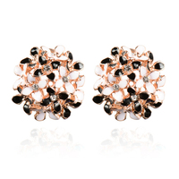 Stud Earrings for Women Female 2017 Boucle d'oreille Crystal Flower Clover Earring Gold Bijoux Jewelry Brincos Mujer 4