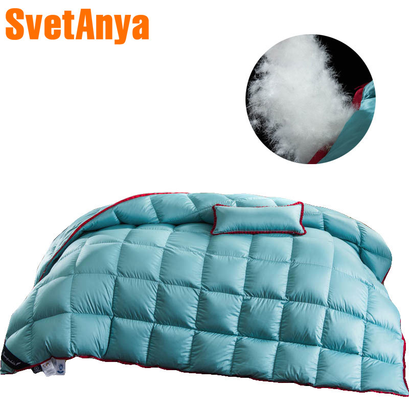 Nordic Simple Blue Warm Twin Queen King Size Duvet Stitching Comforters Cotton Duck Goose Down Filler Quilting Quilt Blanket